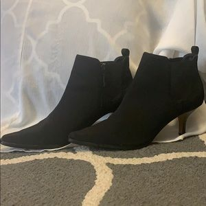 Donald J Pliner Black Satin Ankle Boots Size 8